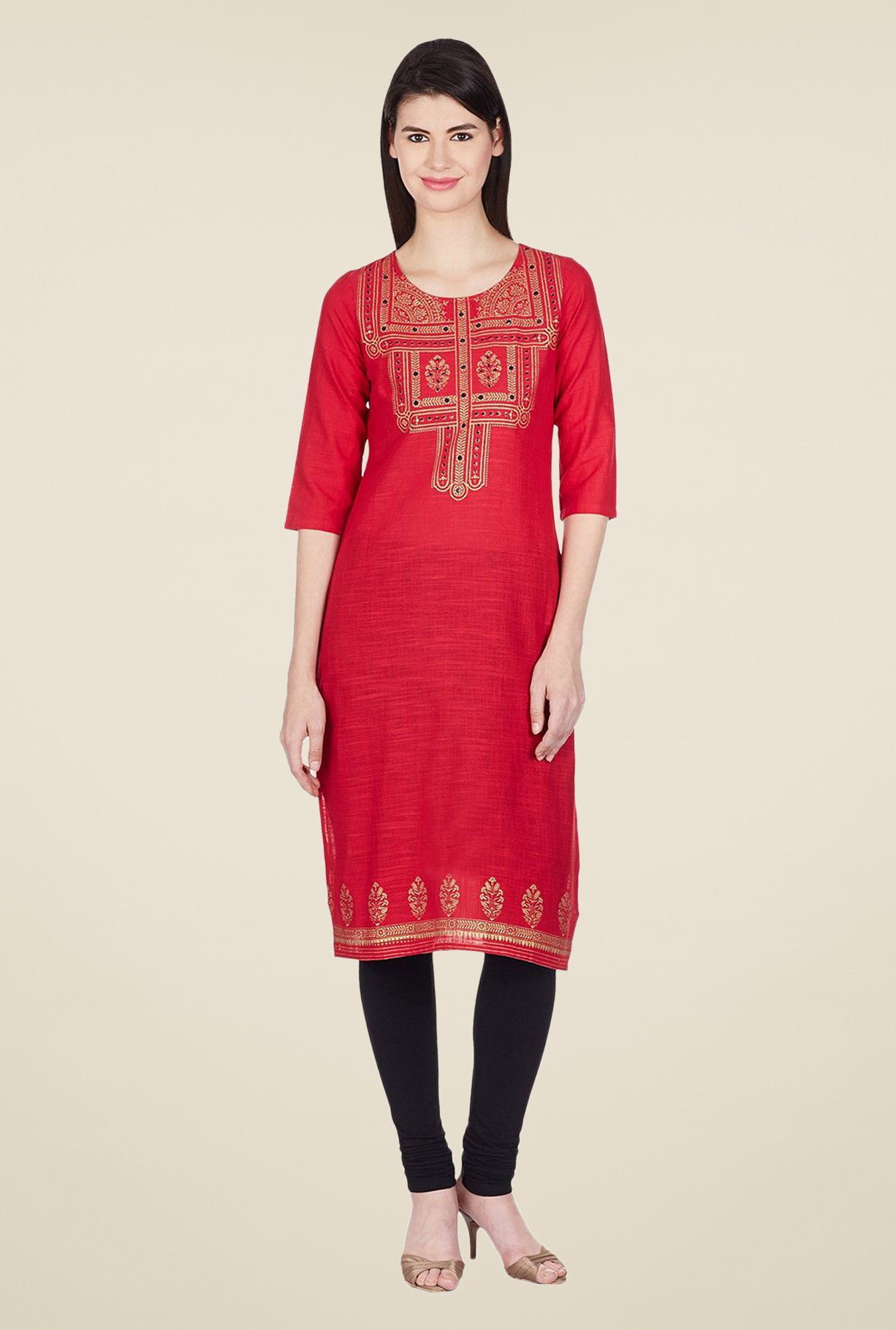 Aurelia Red Printed Regular Fit Kurta