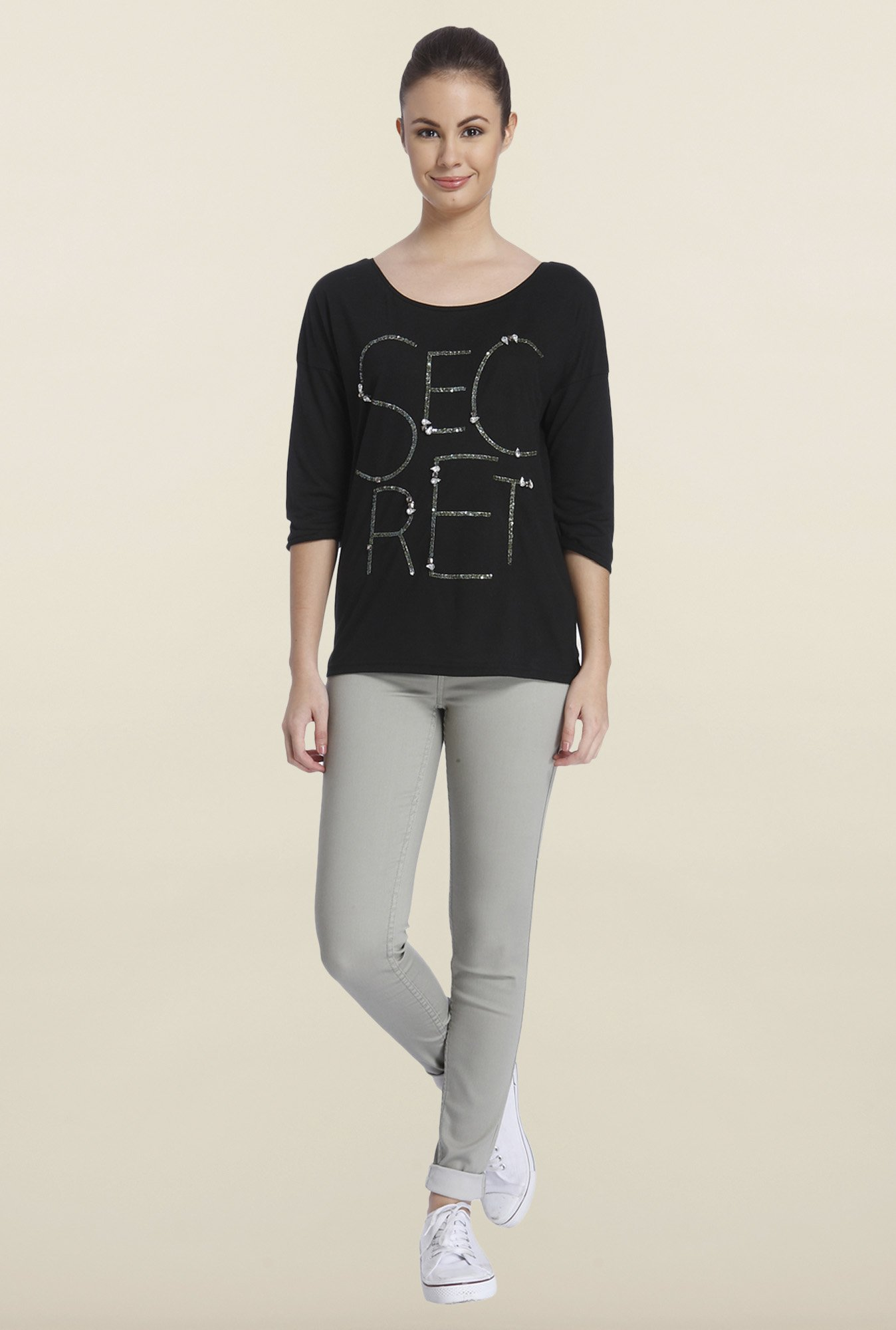 Only Black Embellished T-shirt