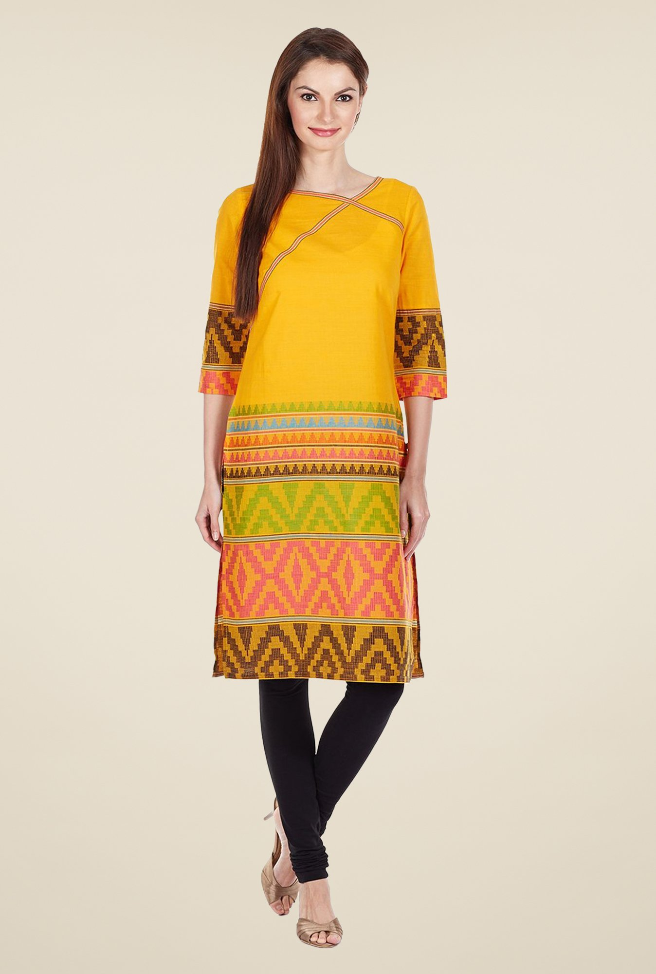 Aurelia Yellow Regular Fit Printed Kurta