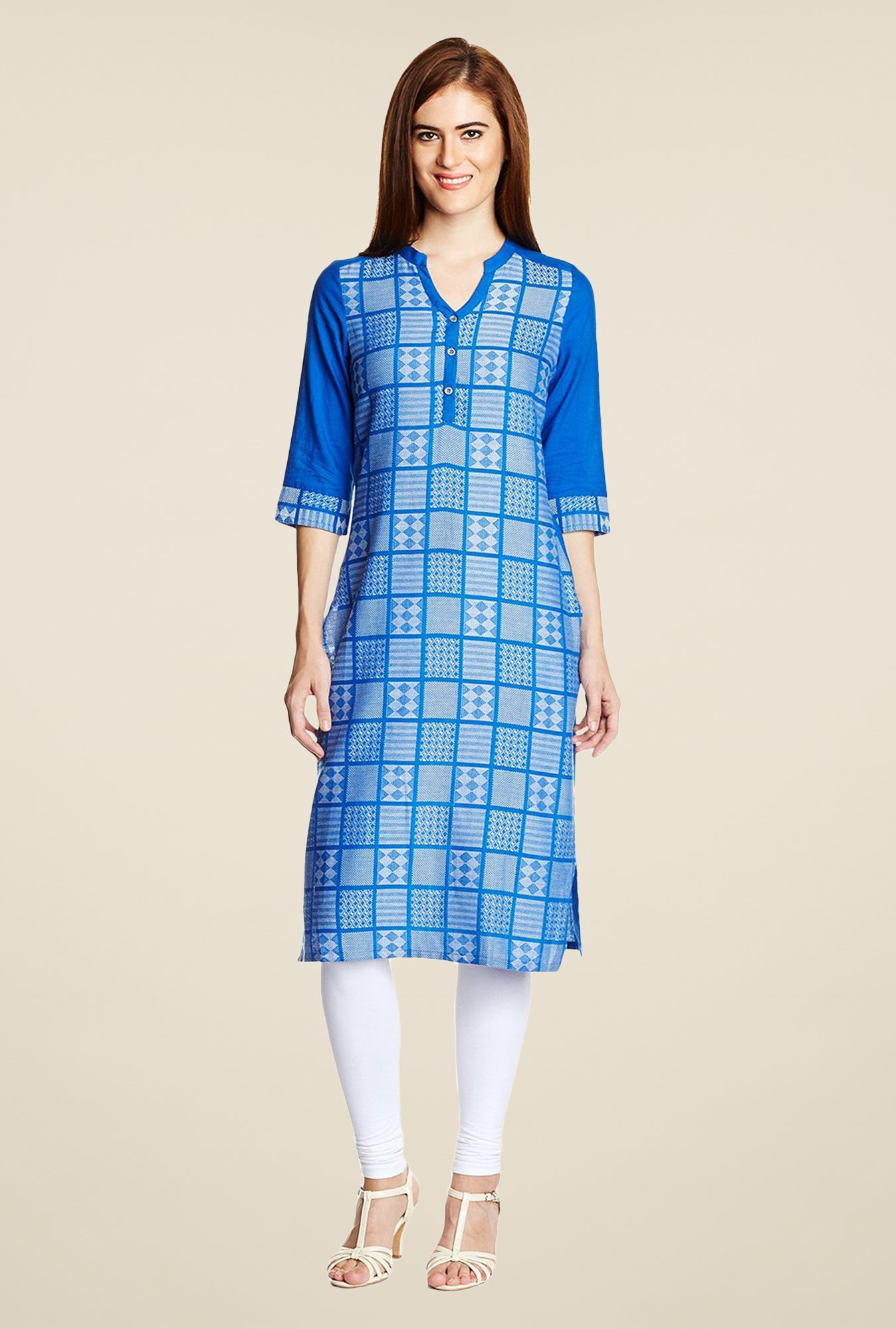 Aurelia Blue Cotton Printed Kurta