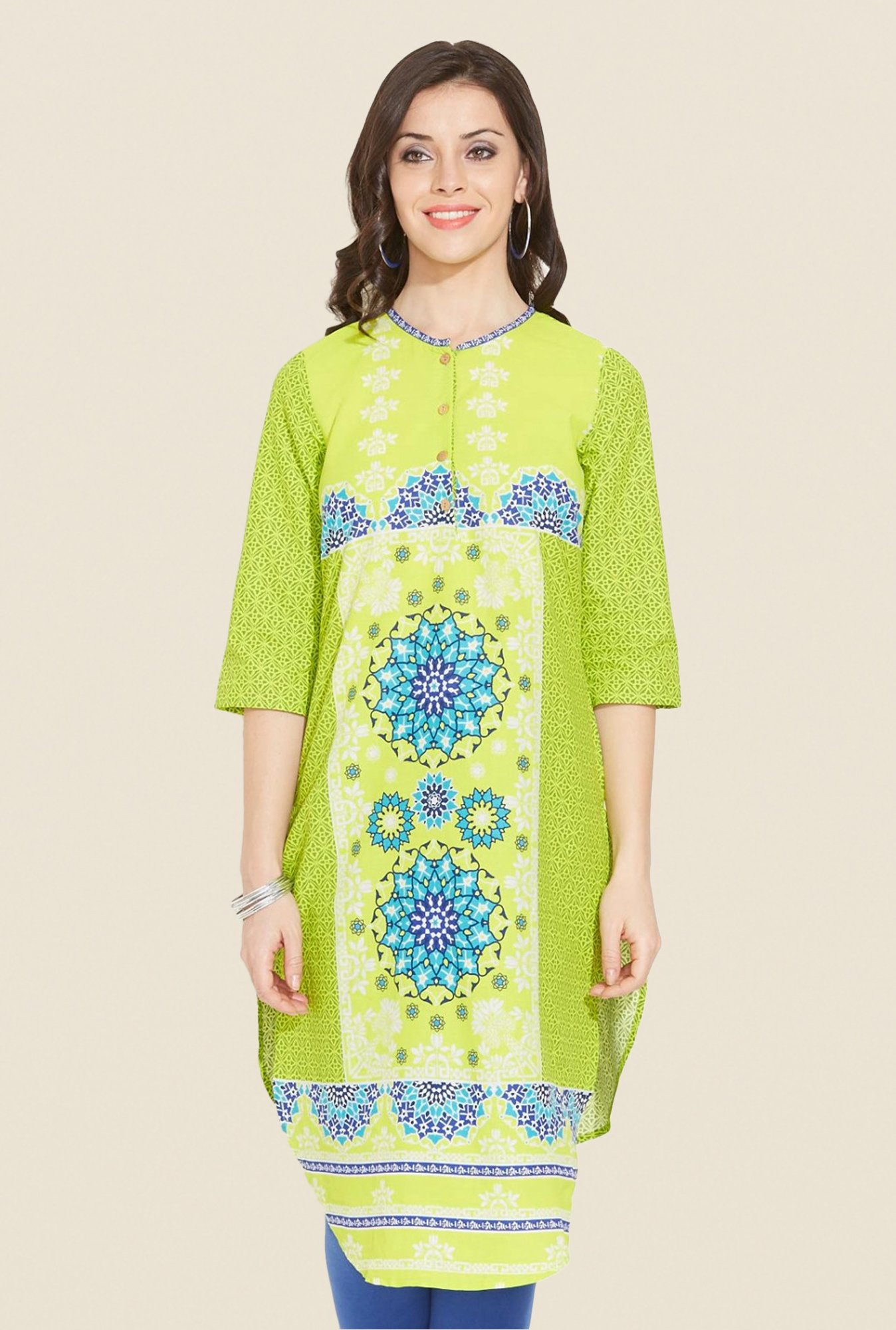 Aurelia Green Printed Cotton Kurta