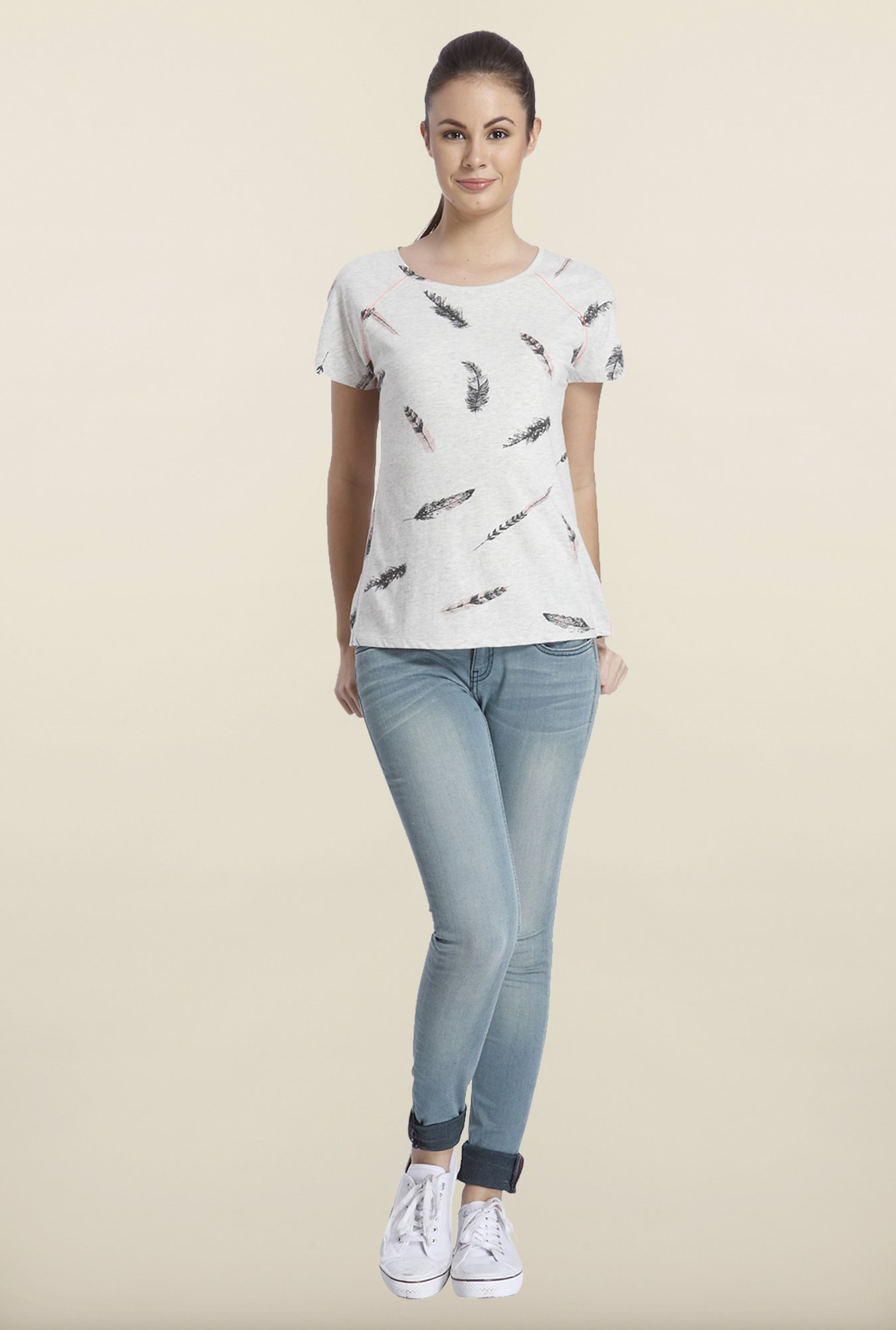 Only Light Gray Printed Cotton T-shirt