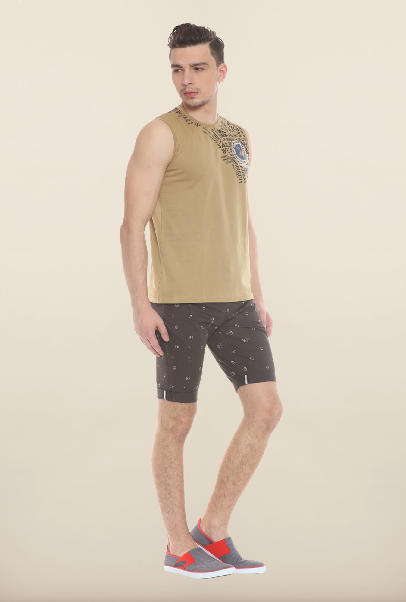 Sweet Dreams Khaki Printed Sando