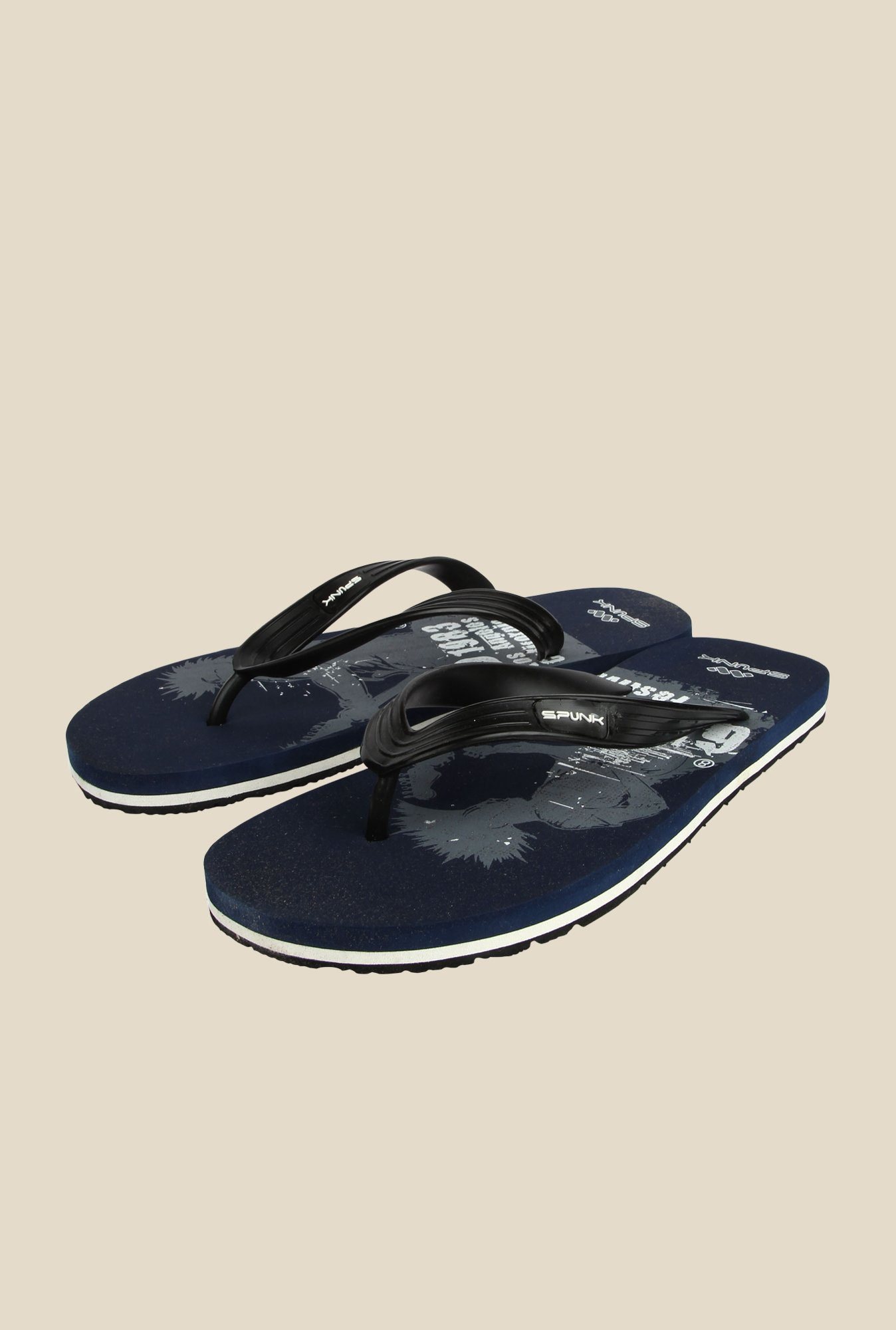 Spunk California Black & Navy Slippers