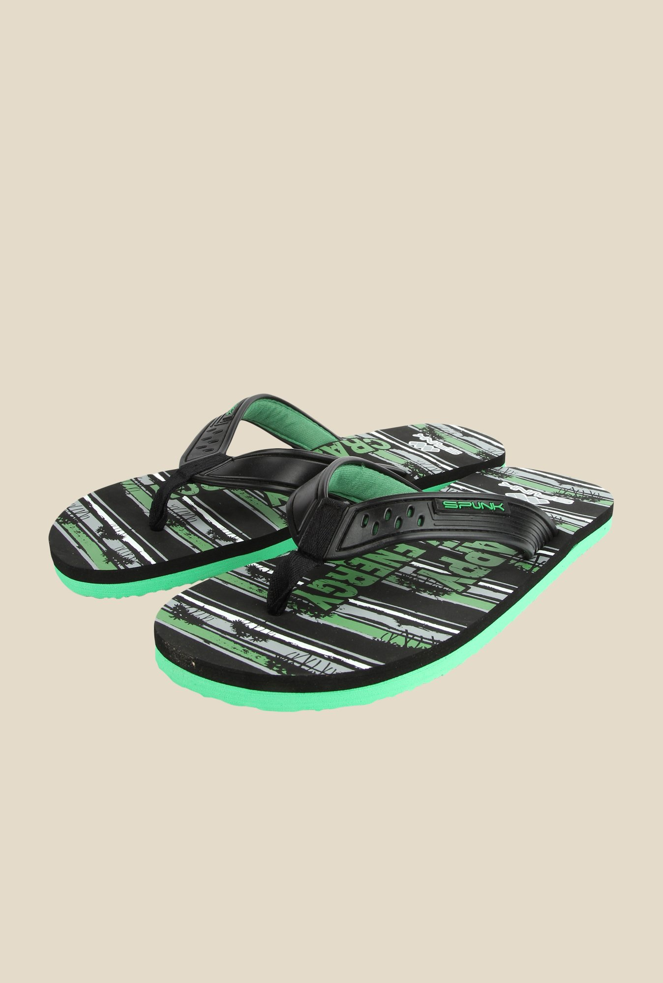 Spunk Rio Black & Green Slippers