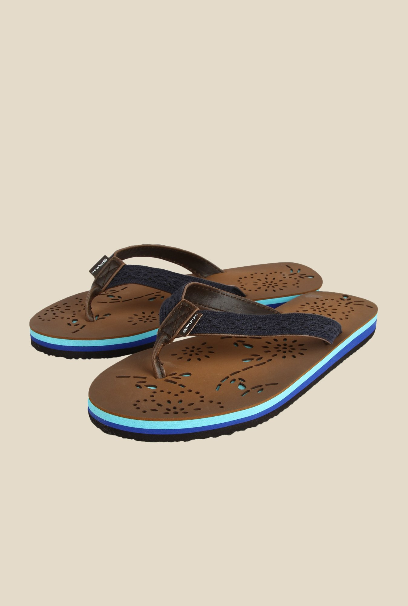 Spunk Hannah Blue & Brown Flip Flops