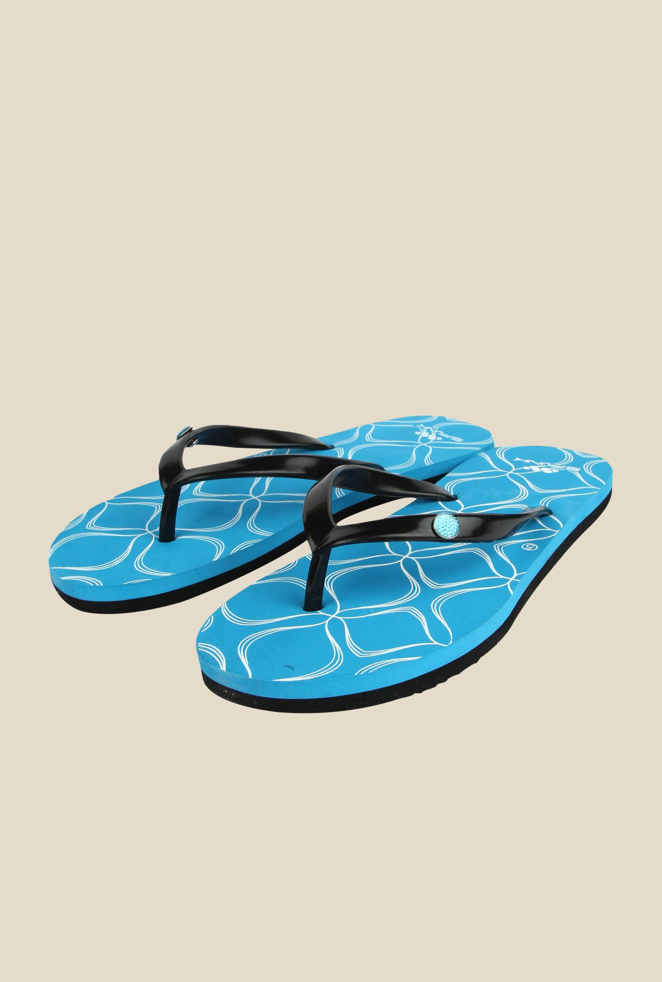 Spunk Ellie Black & Blue Flip Flops