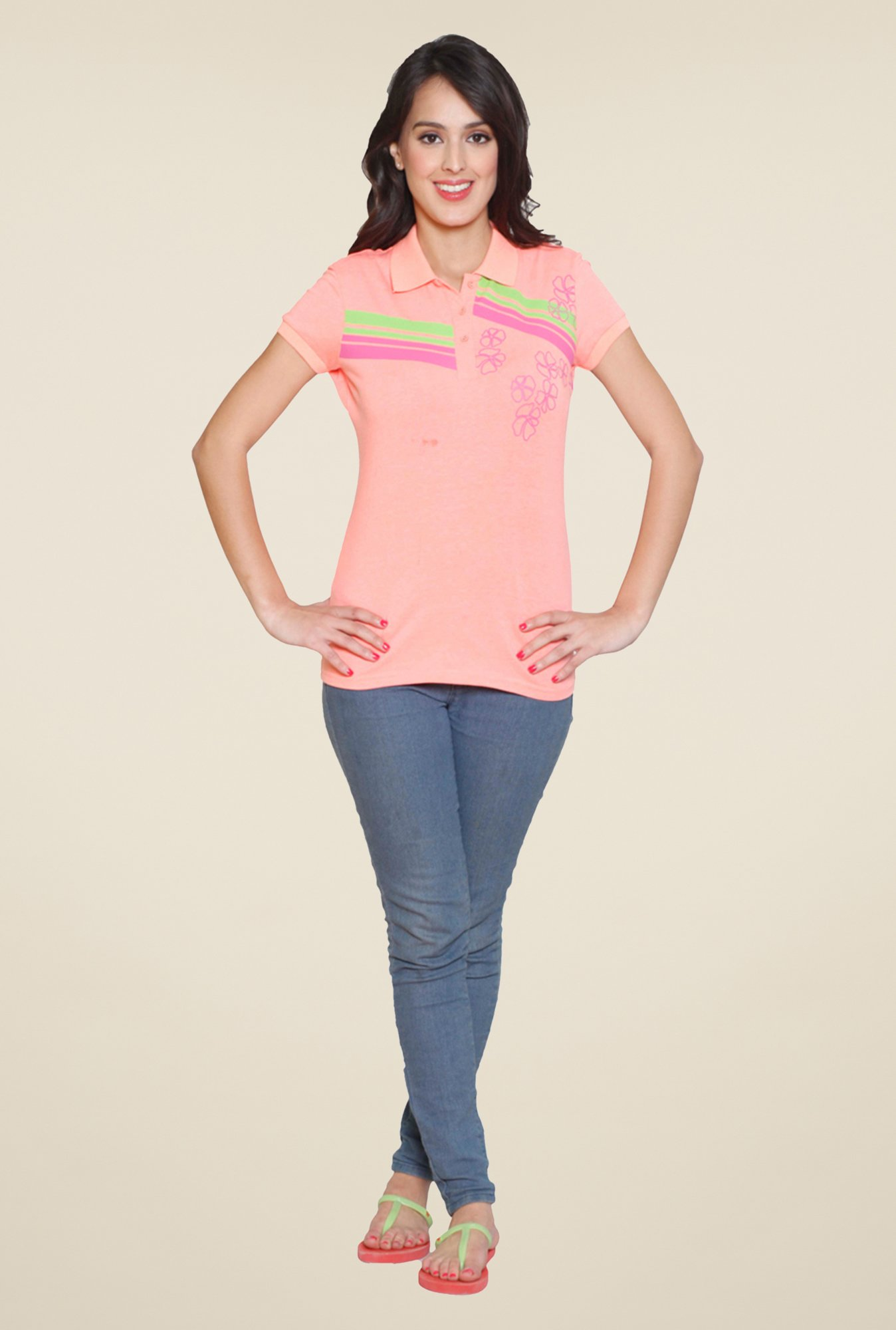 Sweet Dreams Peach Solid Polo T Shirt