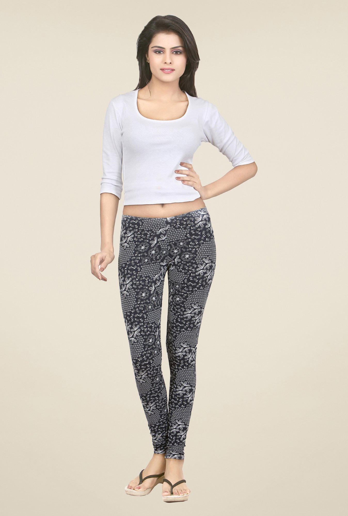 Sweet Dreams Jet Black Printed Leggings
