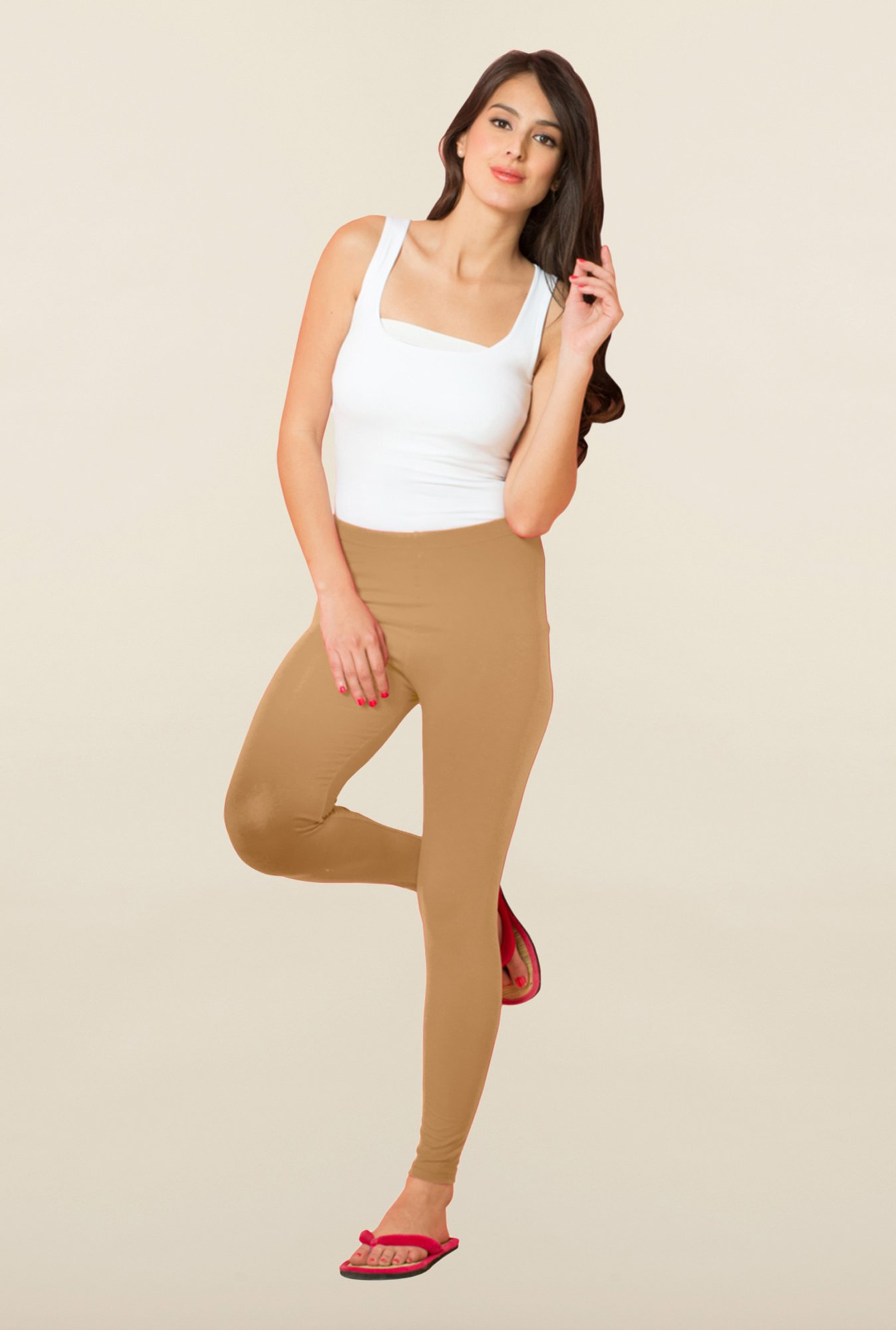 Sweet Dreams Beige Solid Leggings
