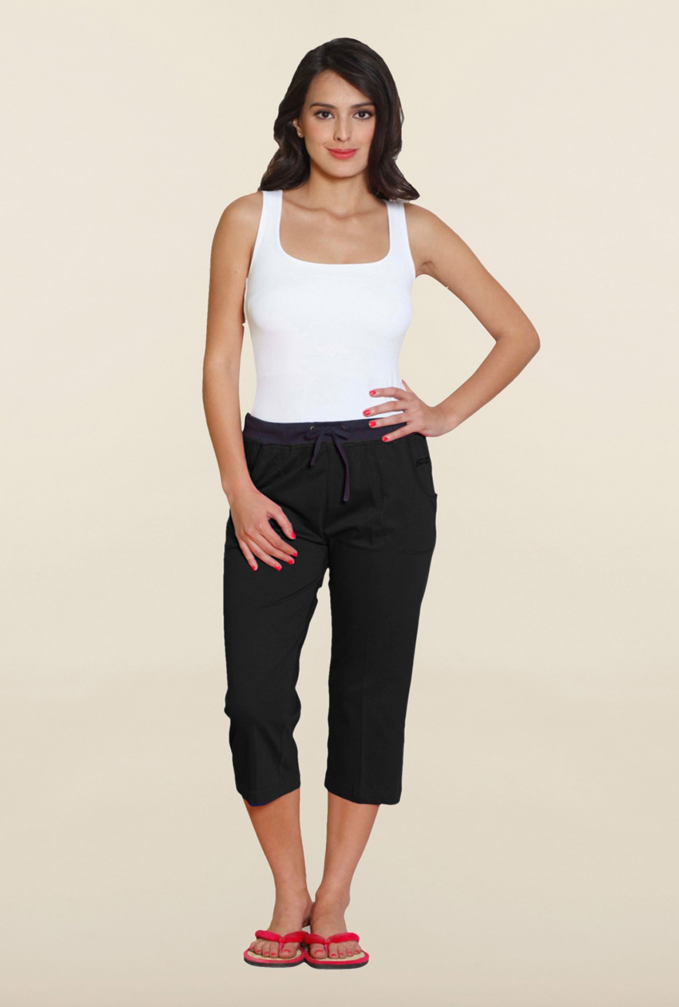 Sweet Dreams Jet Black Cotton Capri