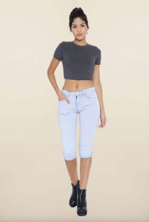 Kraus Light Blue Skinny Fit Capris