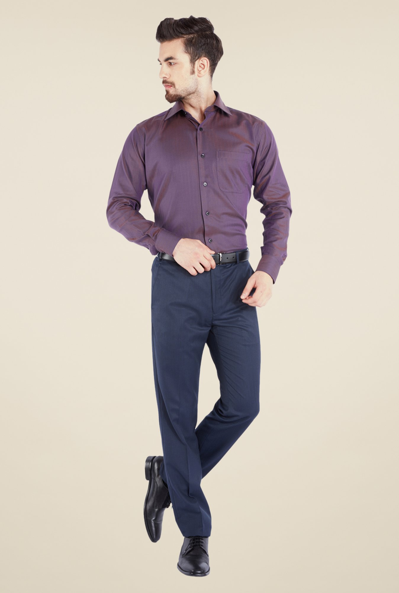 Raymond Purple Solid Shirt