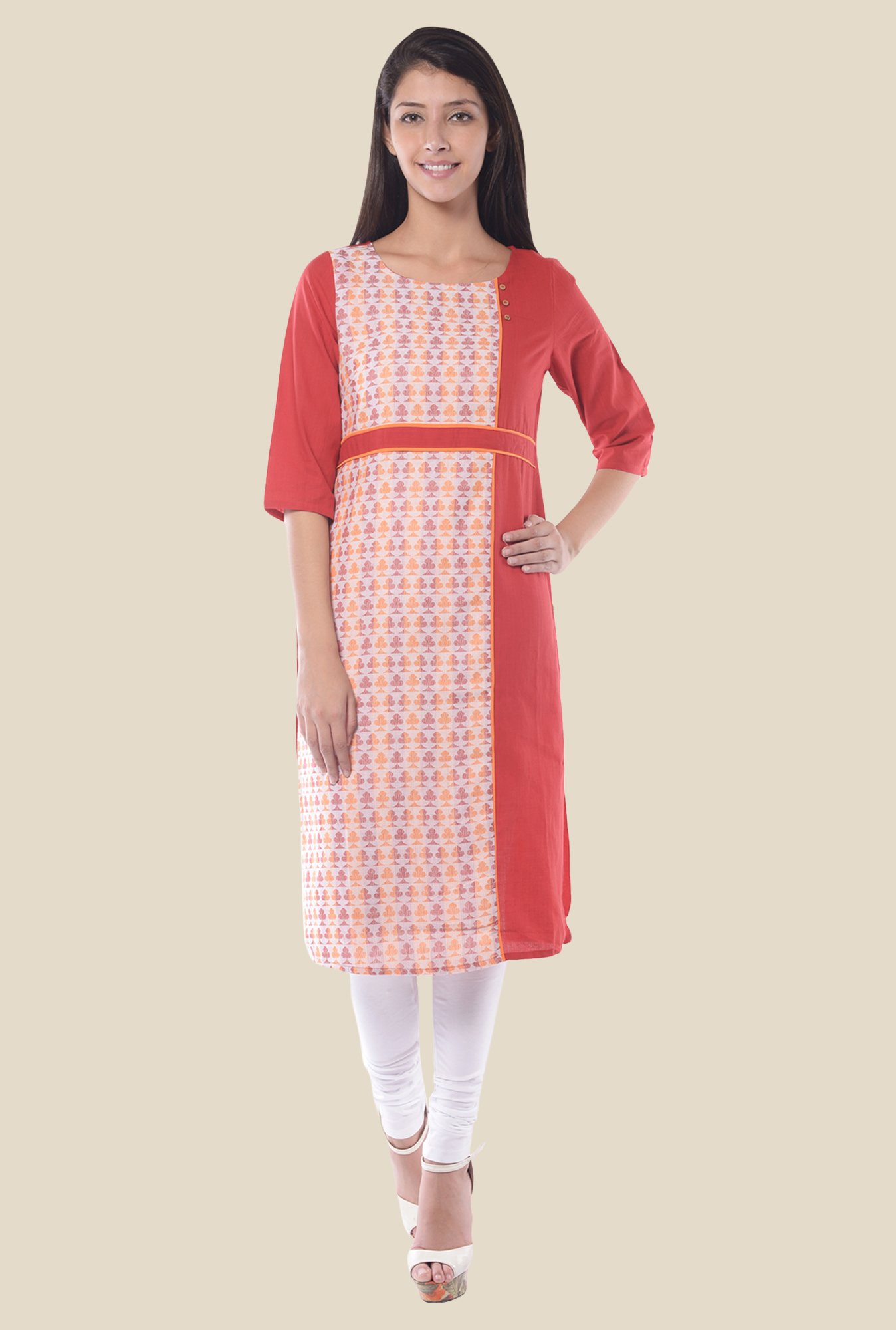 Aurelia Red Round Neck Regular Fit Kurta