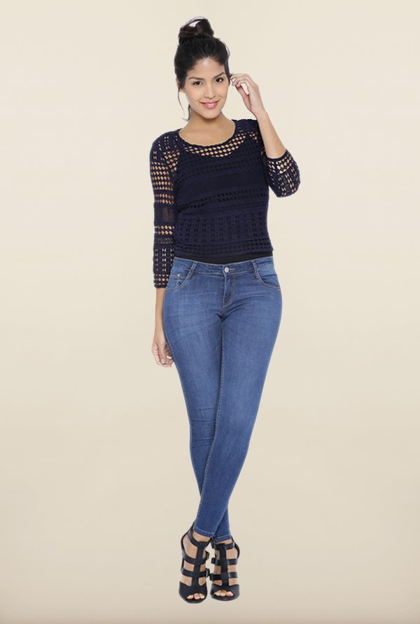 Kraus Navy Crochet Top