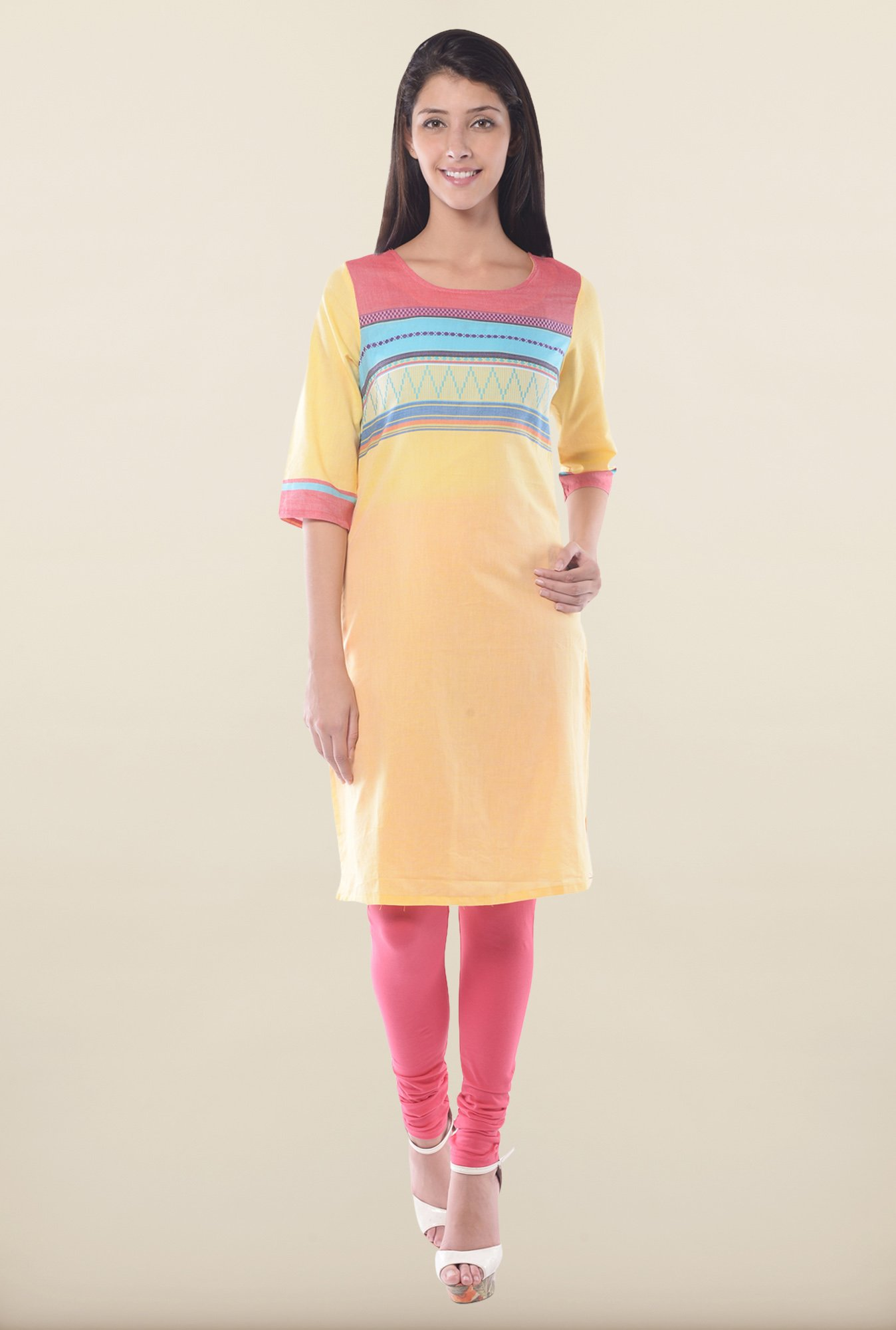 Aurelia Yellow Round Neck Kurta