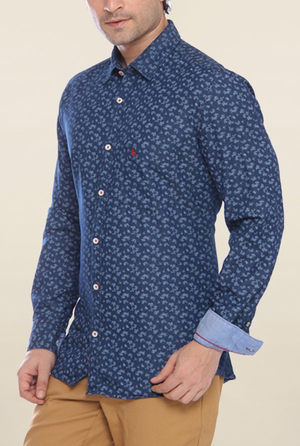 Parx Navy Printed Shirt