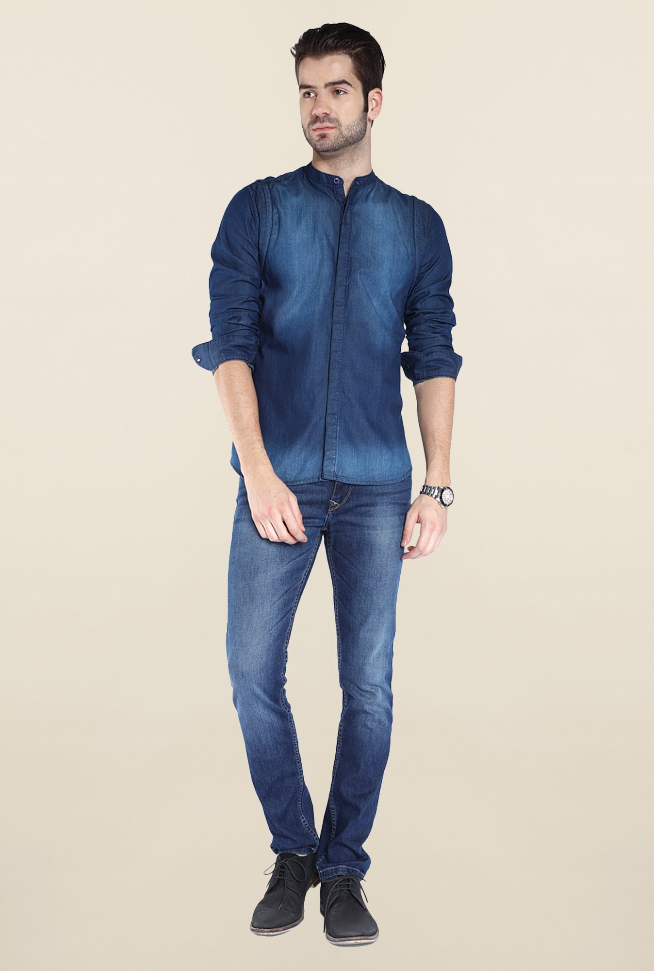 Parx Dark Blue Denim Shirt