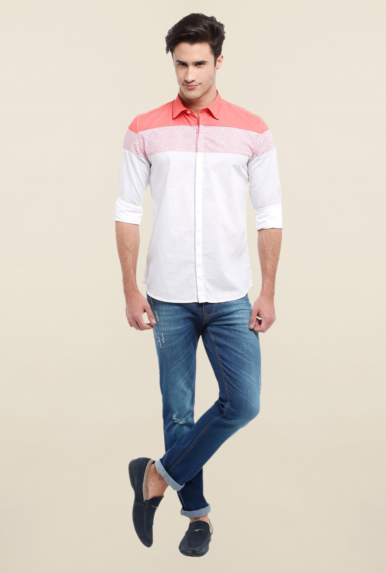 Parx White & Peach Solid Shirt