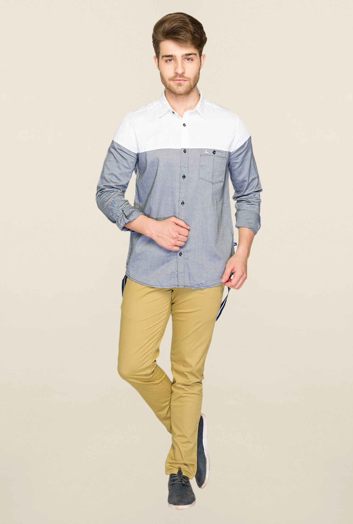 Parx Grey & White Solid Shirt