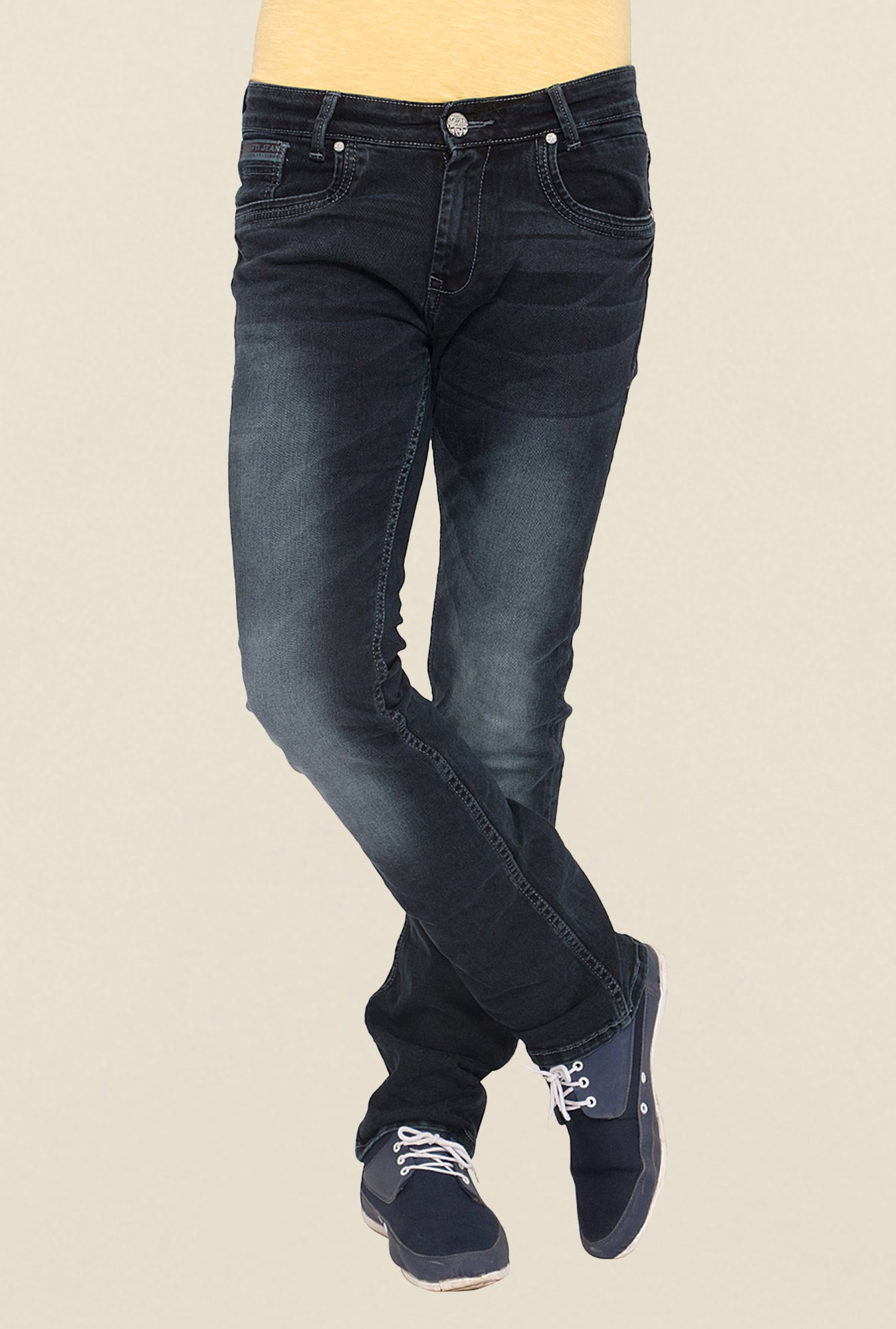 Mufti Black Straight Fit Jeans