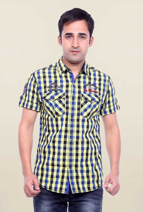 Mufti Multicolor Checks Slim Fit Shirt