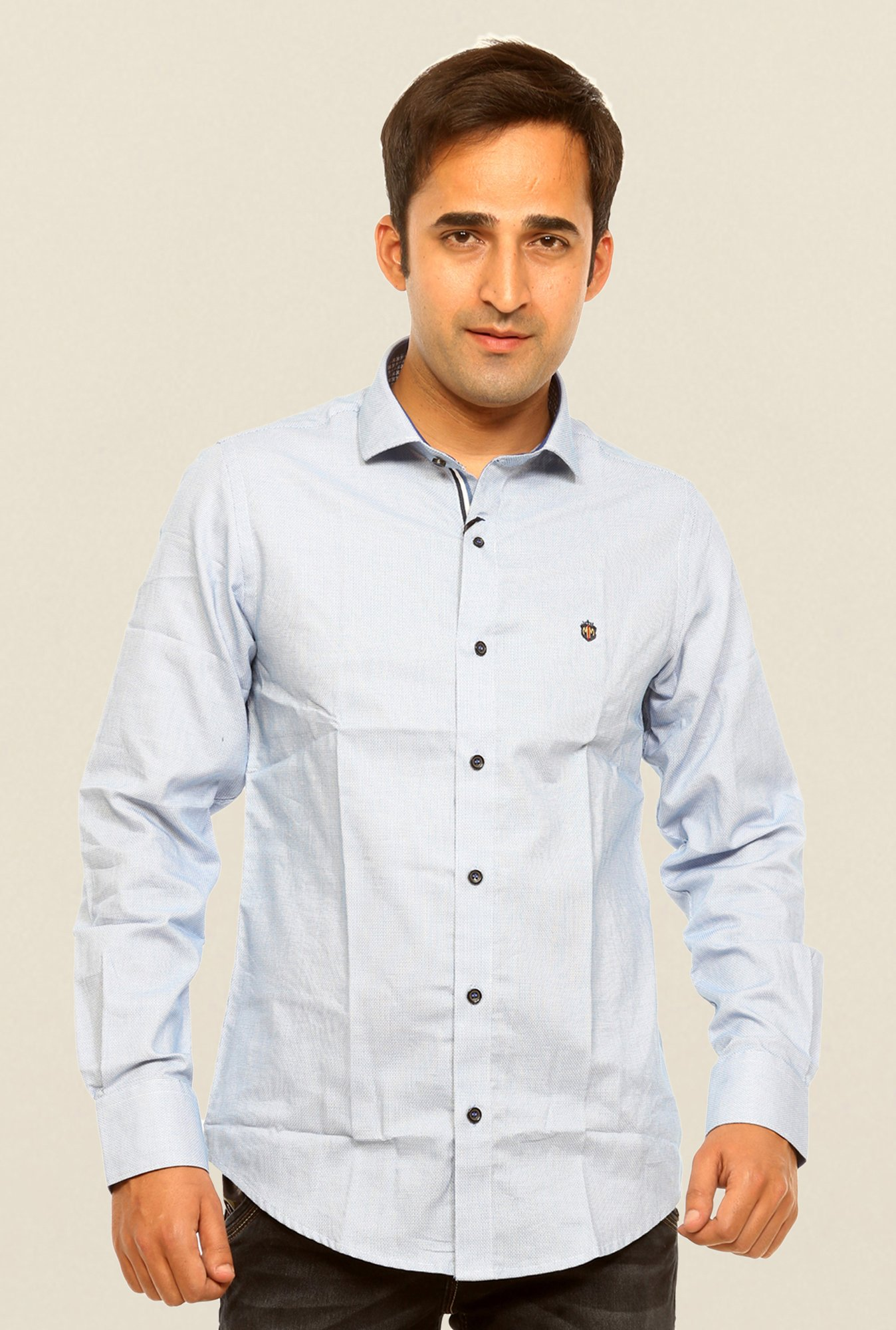 Mufti Sky Blue Solid Cotton Shirt