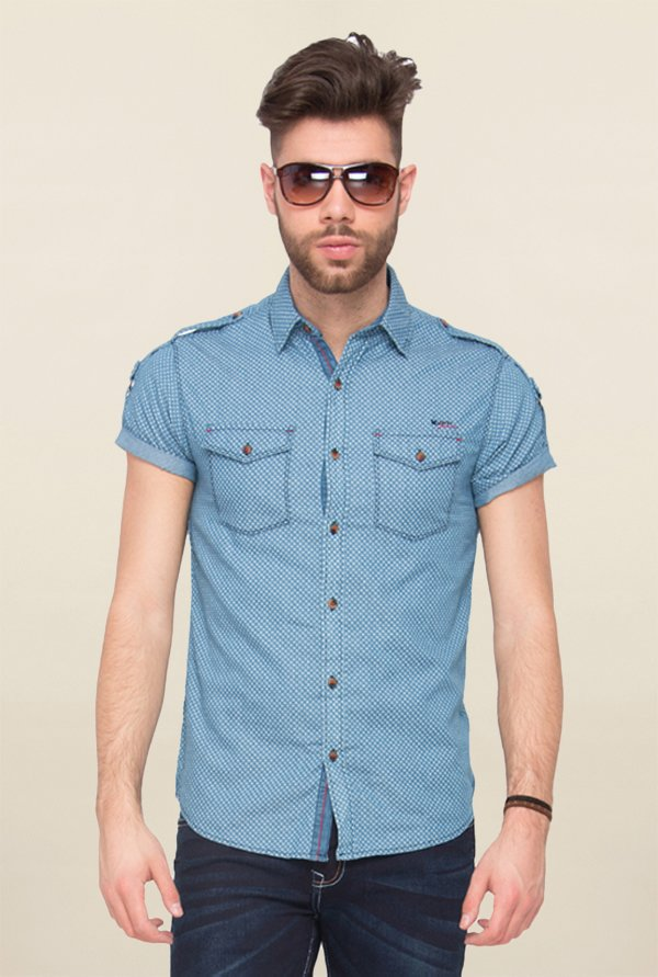 Mufti Blue Printed Cotton Shirt