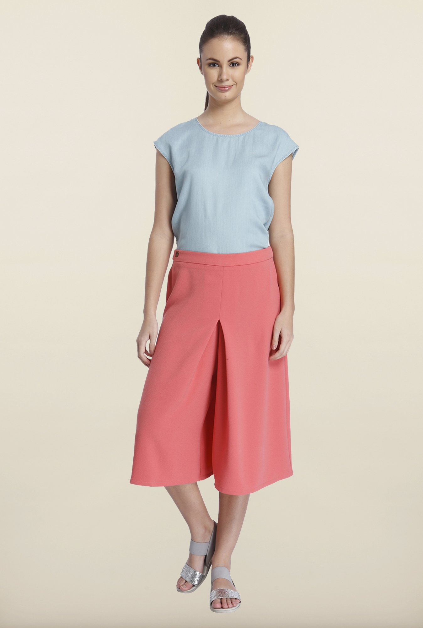 Only Coral Solid Culottes