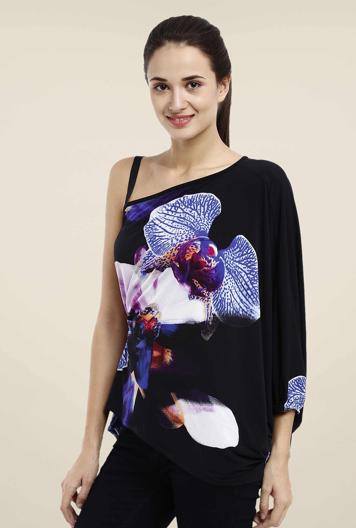 Avirate Black Floral Printed Top