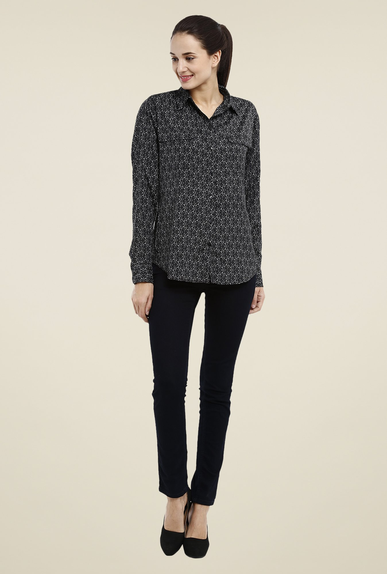 Avirate Black Printed Shirt