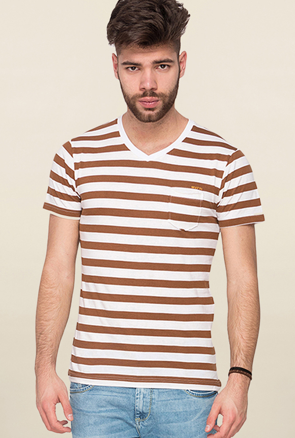Mufti Brown & White Striped T Shirt