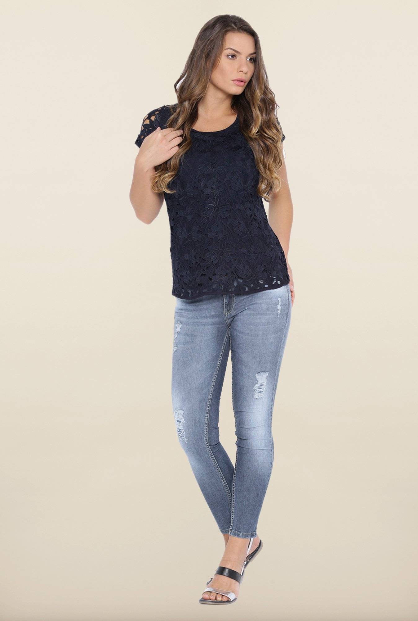 Kraus Navy Lace Top