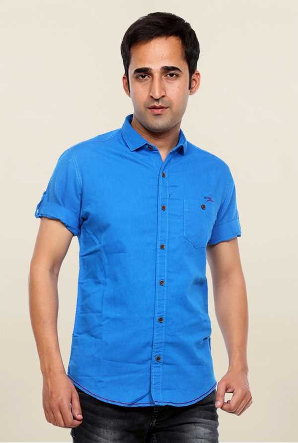 Mufti Royal Blue Solid Slim Fit Shirt