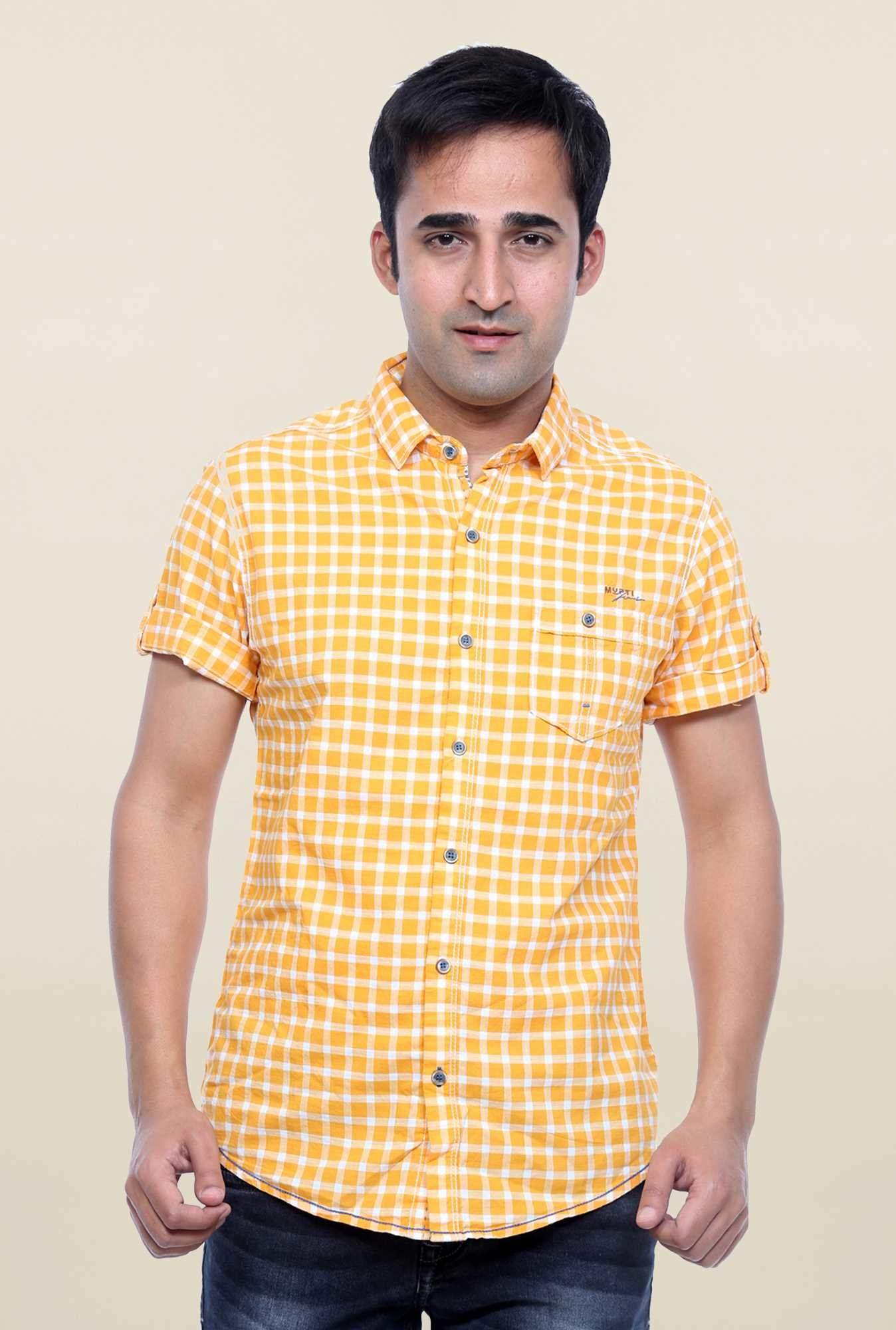 Mufti Orange Checks Shirt