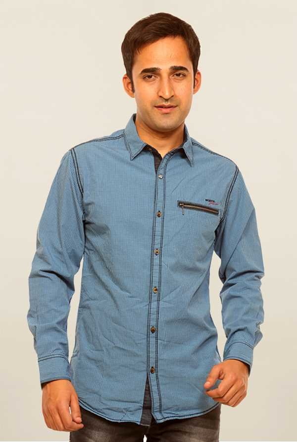 Mufti Blue Cotton Shirt