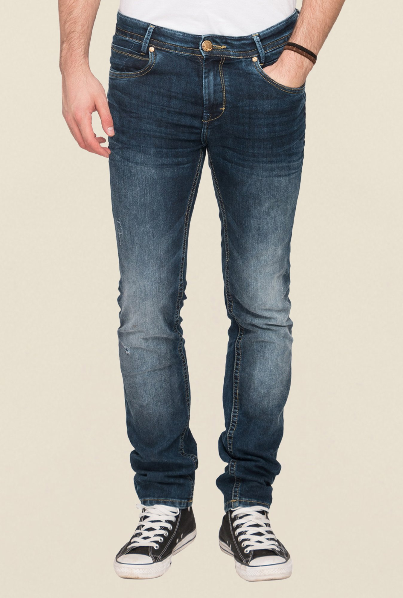 Mufti Navy Acid Washed Jeans
