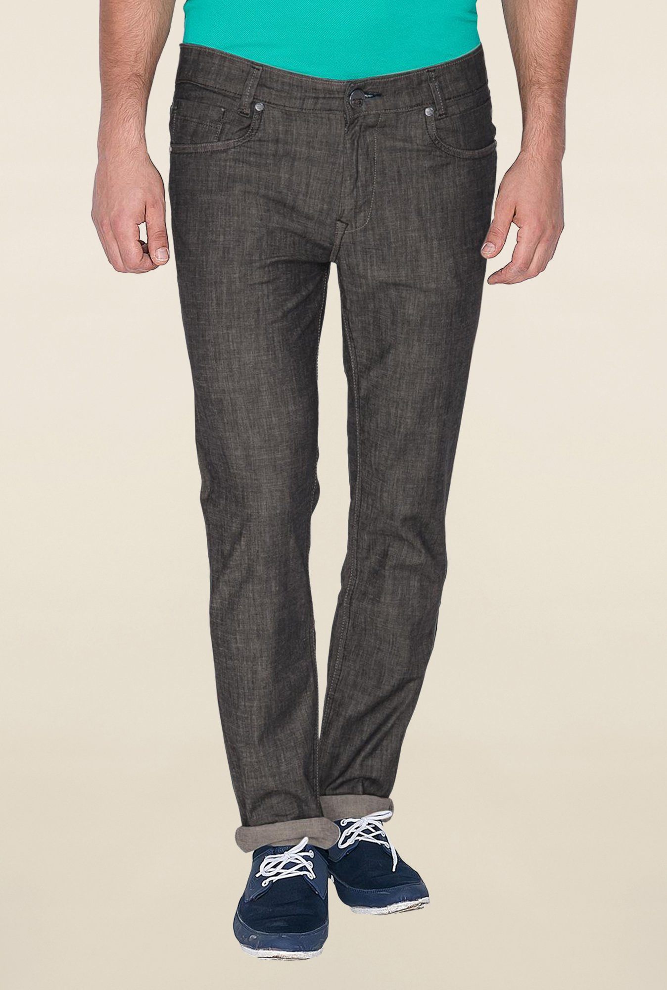 Mufti Grey Solid Rinse Washed Jeans