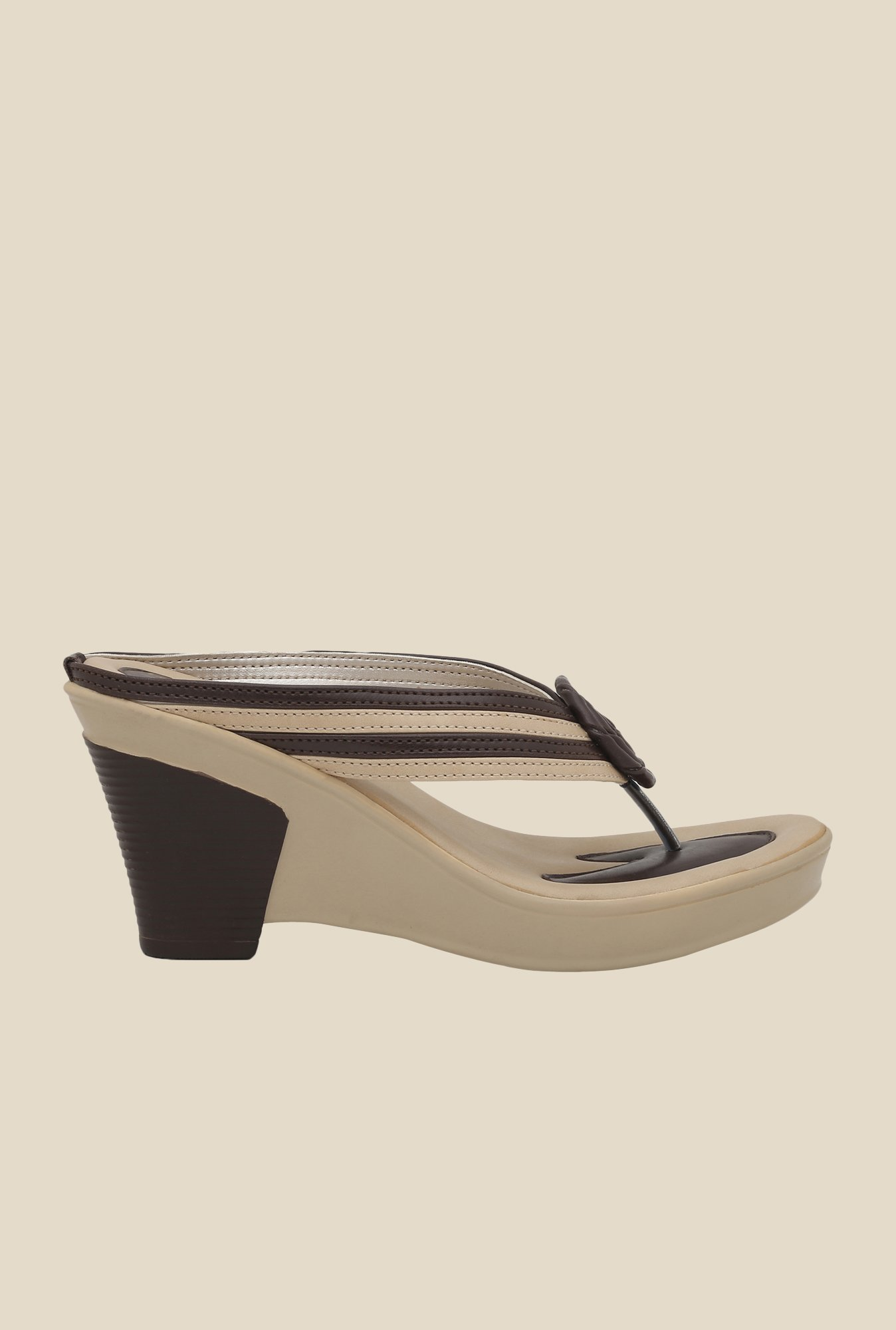 La Briza Brown & Beige Wedge Sandals