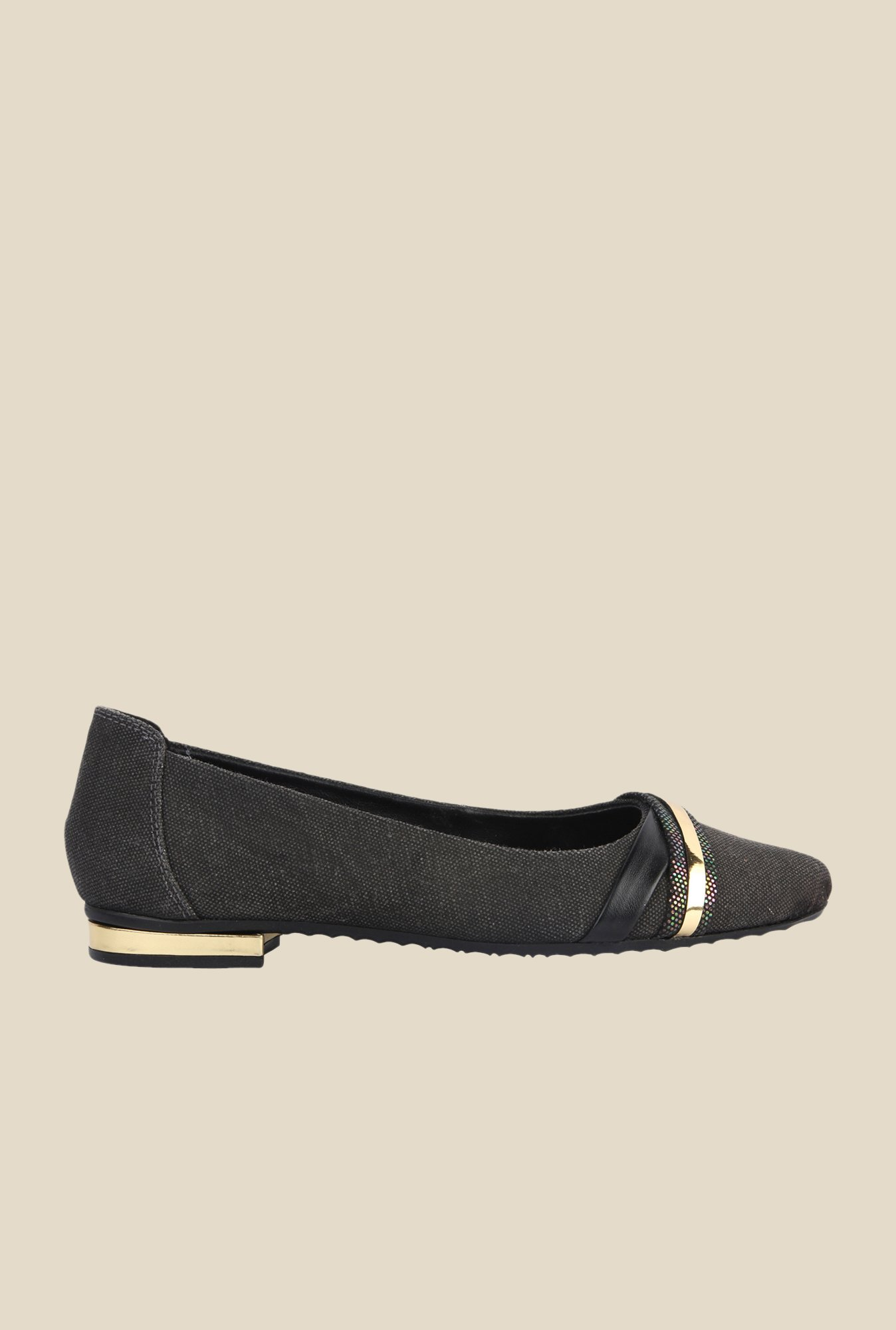 La Briza Black Ballerina Leather Shoe
