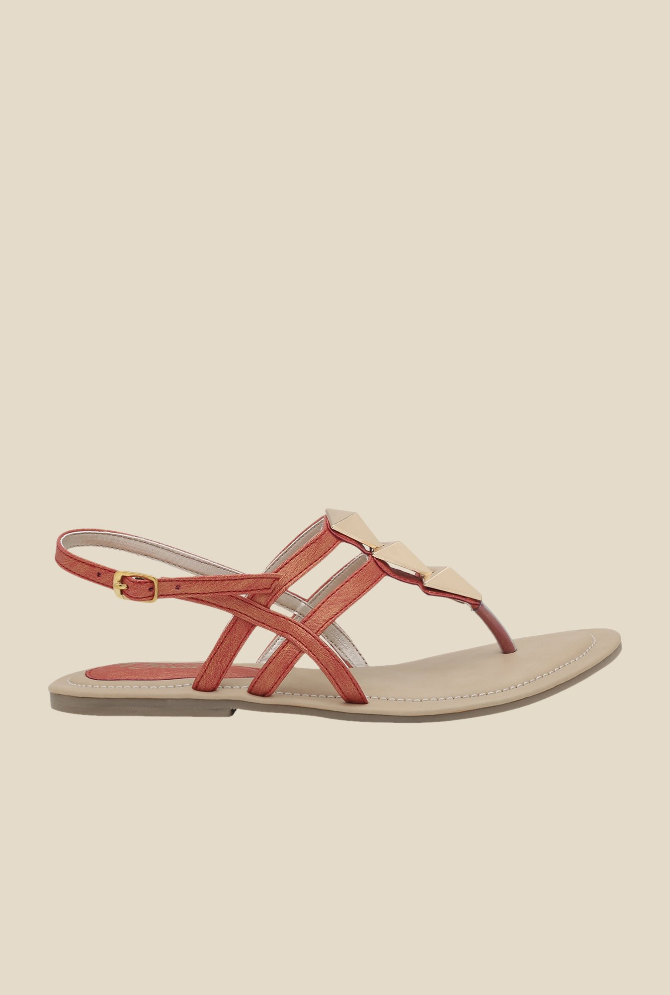 La Briza Red Back Strap Flat Sandals