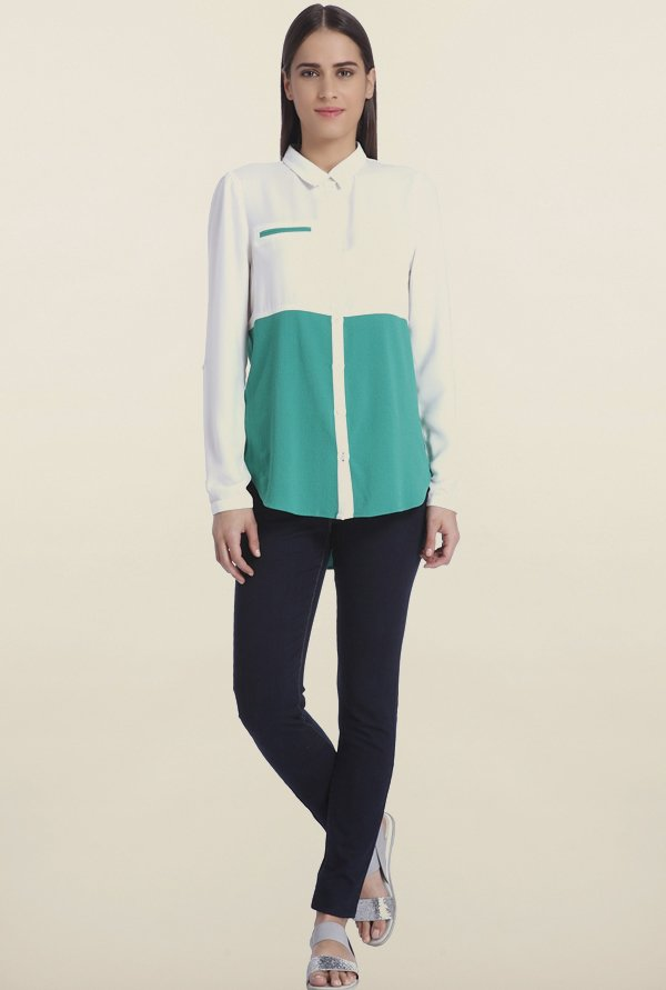 Vero Moda White & Teal Solid Casual Shirt