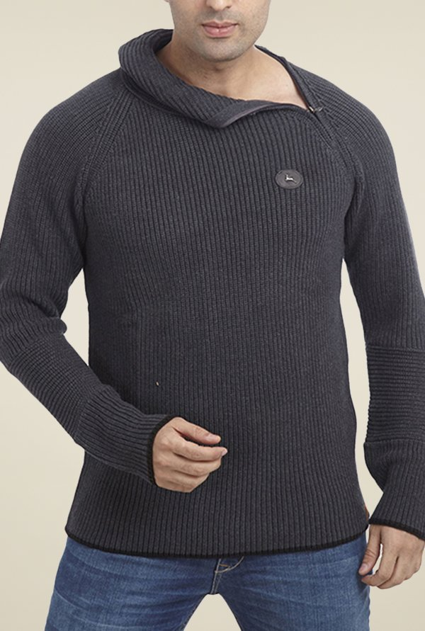Parx Grey Solid Sweater