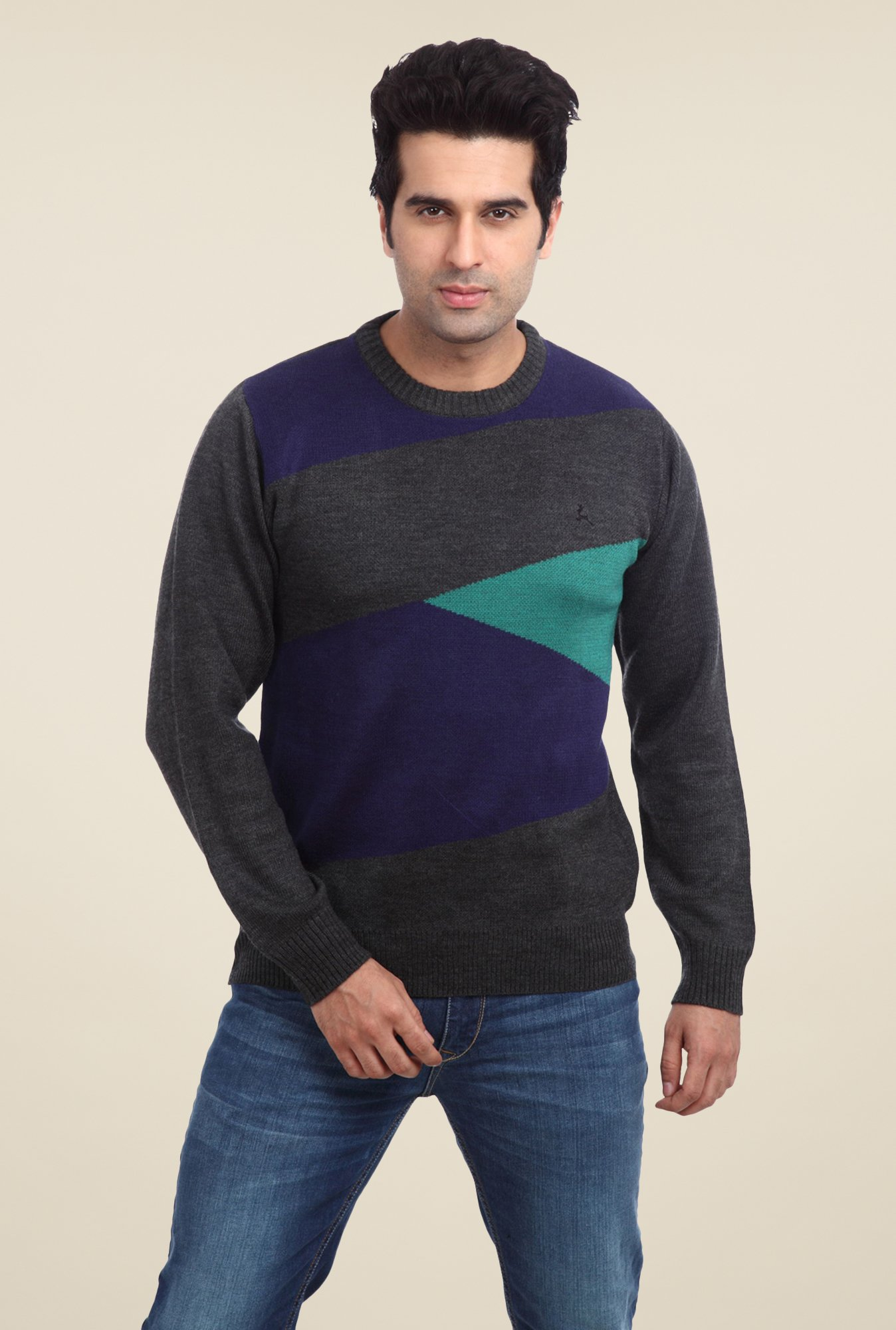 Parx Grey Printed Sweater