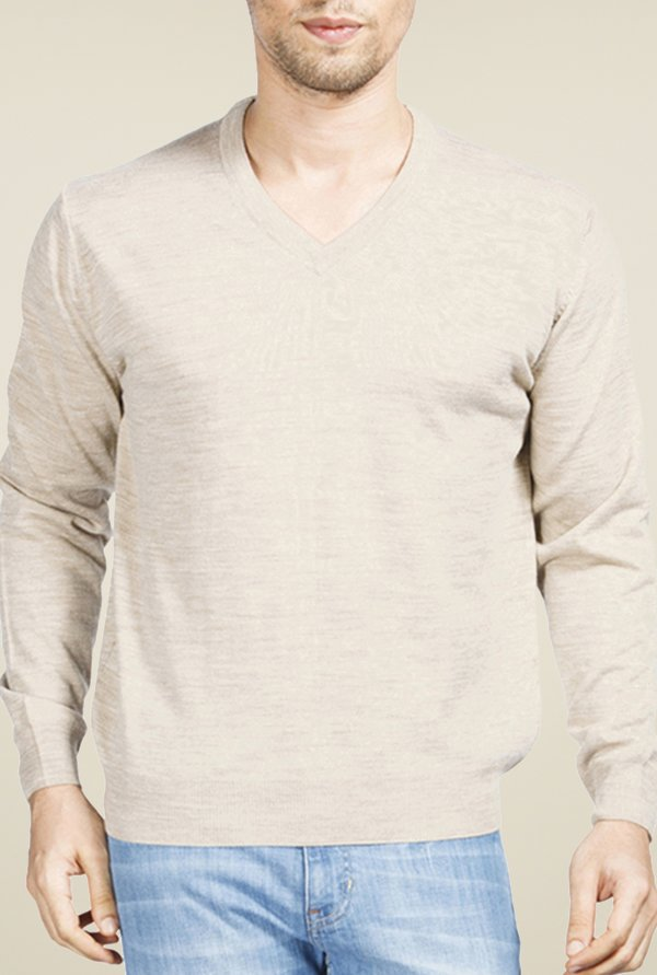 Raymond Beige Solid Sweater