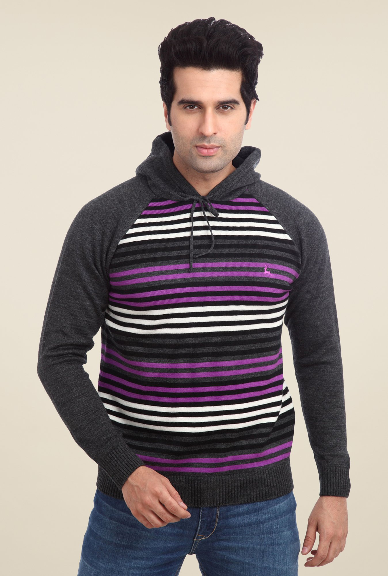 Parx Grey Striped Sweater