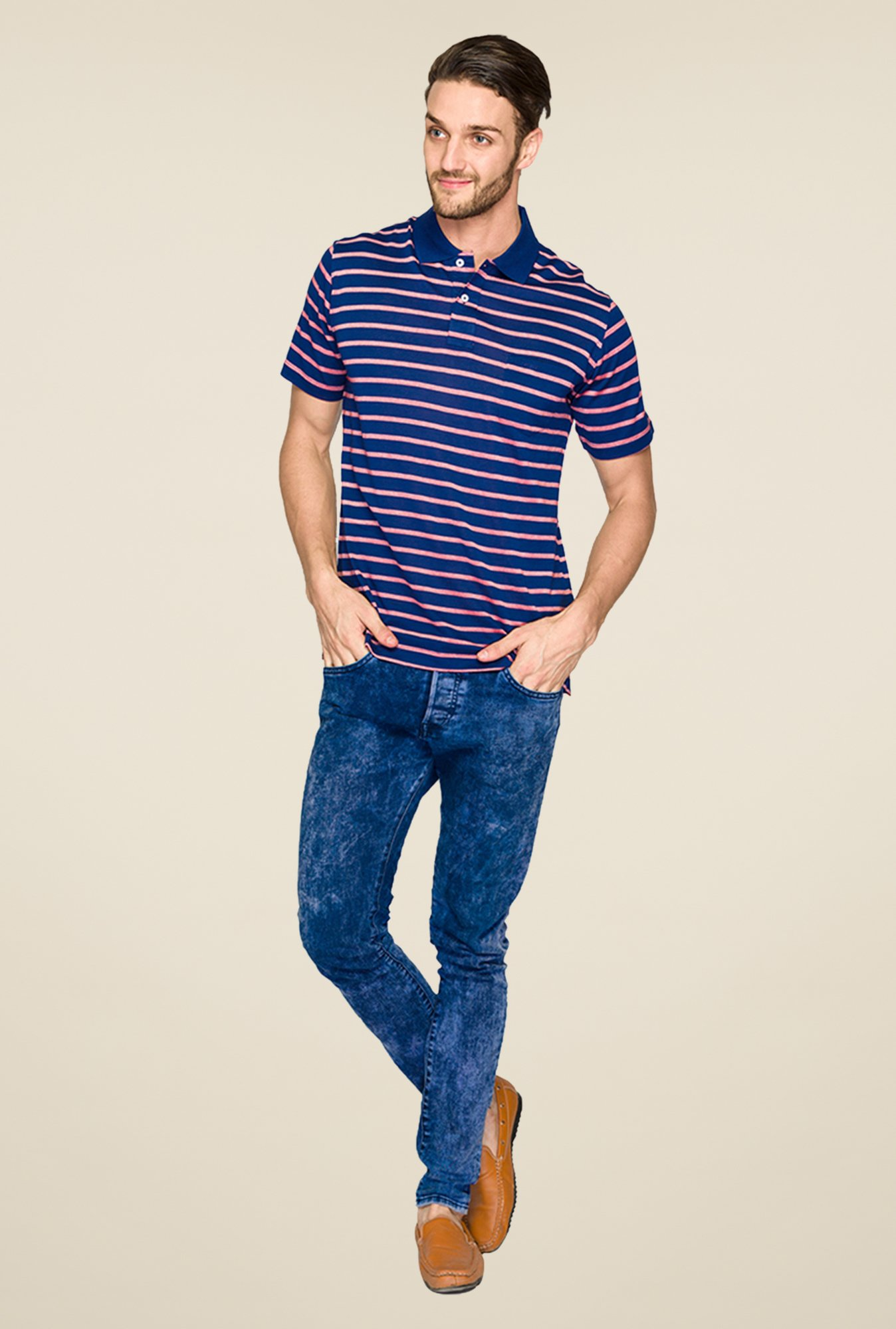 ColorPlus Dark Blue Striped Polo T Shirt