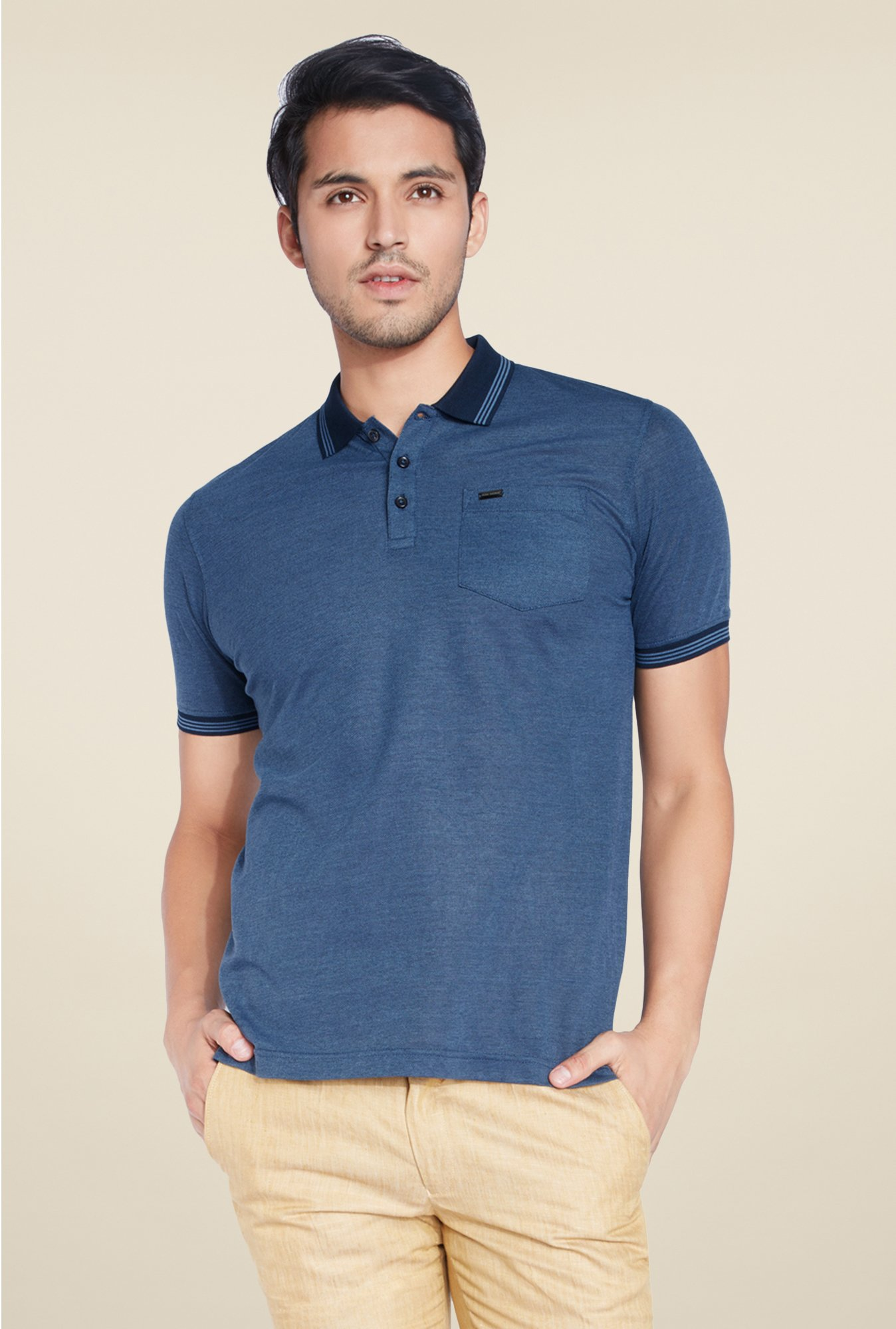 Park Avenue Dark Blue Solid Polo T Shirt