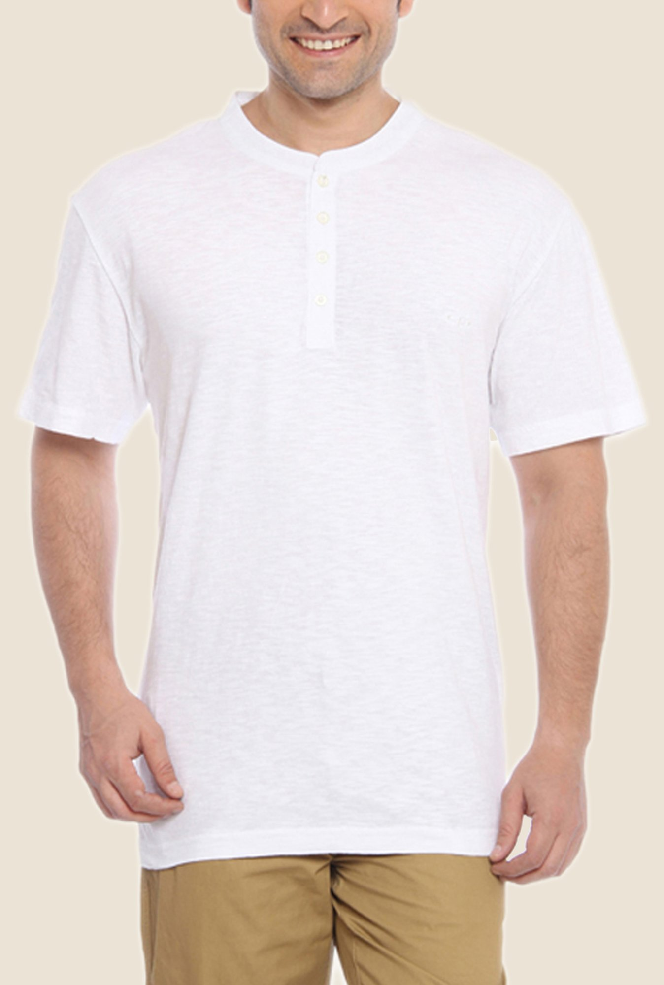 ColorPlus White Solid Henley Neck T Shirt