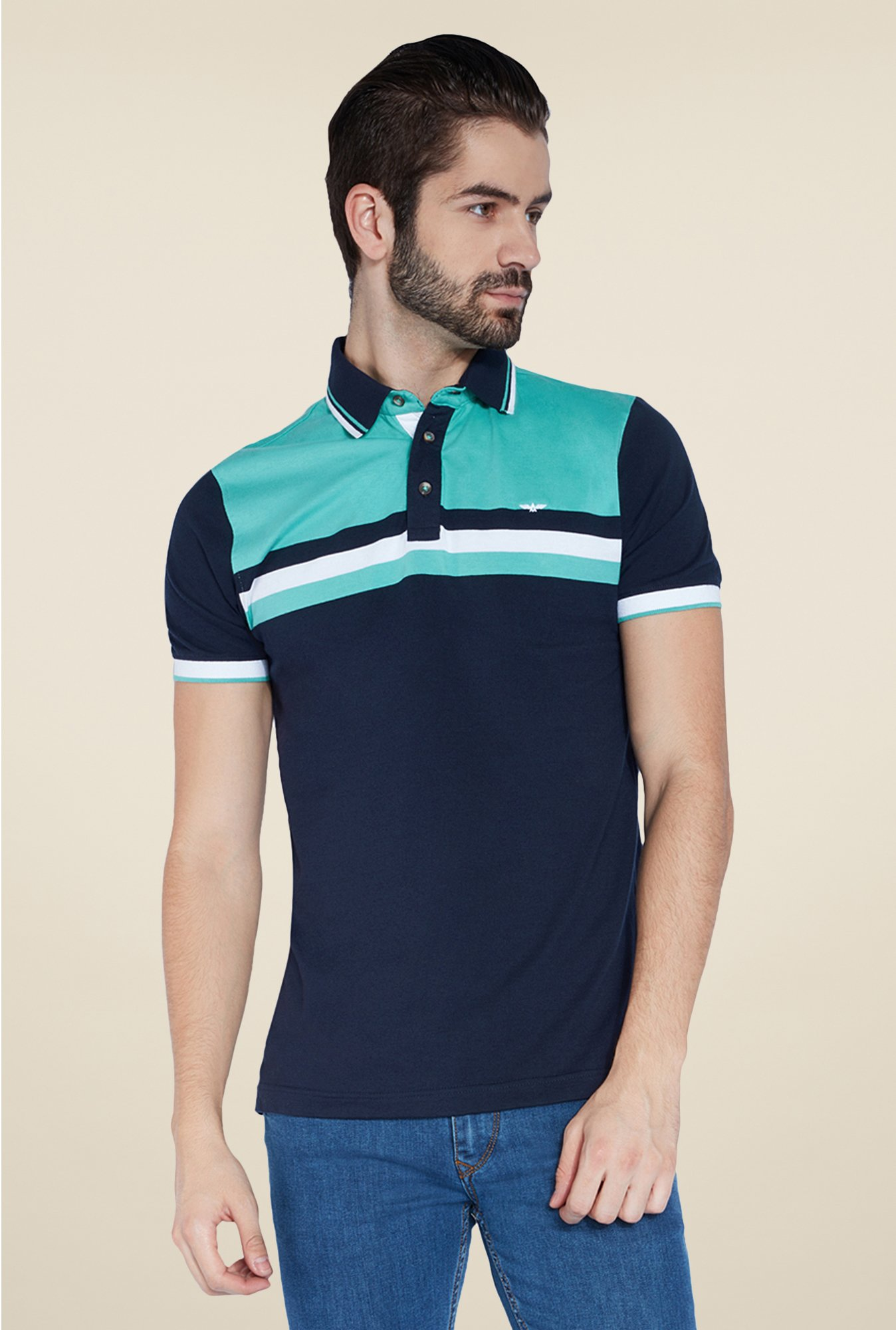 Park Avenue Navy Solid Polo T Shirt